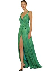 Maria Lucia Hohan Pleated Lurex Silk Tulle Long Dress Green