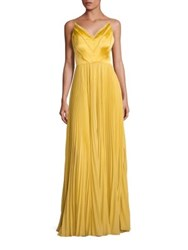 Kay Unger Pleated V Neck Gown Marigold