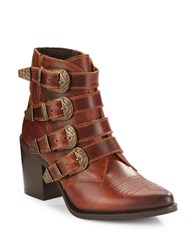 Steve Madden Praire Buckled Leather Ankle Boots Cognac