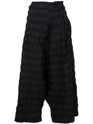 Area Di Barbara Bologna Wrinkled Wide Leg Striped Skirt Cropped Trousers Black