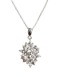 Lord And Taylor Sterling Silver Large Flower Pendant Necklace