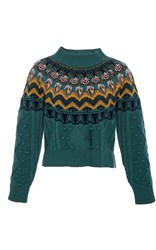Temperley London Cable Jacquard Jumper Green