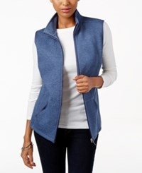 Karen Scott Quilted Zip Front Vest Only At Macy's Heather Indigo