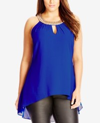 City Chic Plus Size Beaded High Low Necklace Top Ultra Blue