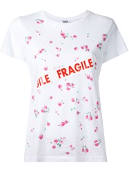Sonia Rykiel By Floral 'Fragile' Print T Shirt White