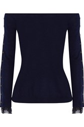 Oscar De La Renta Off The Shoulder Chiffon Trimmed Wool And Silk Blend Sweater Navy