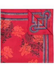 Bally Crest Print Scarf Red