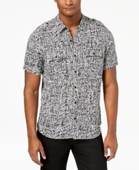 Guess Men's Abstract Grid Shirt Painted Check Print White