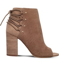 Nine West Britt Embossed Faux Leather Open Toe Boots Taupe