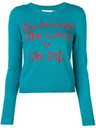 Alice Olivia Connie Crew Neck Jumper Blue