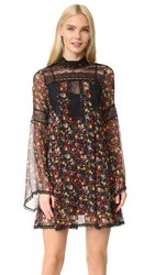 Anna Sui Pansy Print Crinkle Chiffon Dress Black Multi