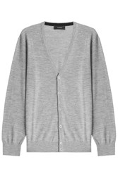 Joseph Merino Wool Cardigan With Suede Patches Grey