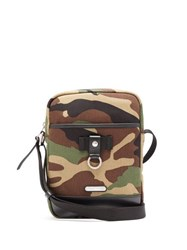 Saint Laurent Camouflage Print Canvas And Leather Cross Body Bag Camouflage