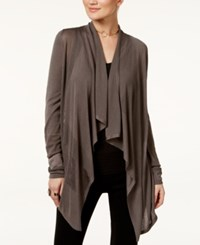 Inc International Concepts Petite Open Front Draped Illusion Cardigan Only At Macy's Grey Knight
