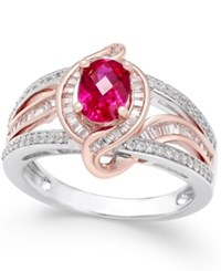Macy's Certified Ruby 1 Ct. T.W. And Diamond 1 2 Ct. T.W. Two Tone Statement Ring In 14K White And Rose Gold Red