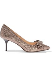 Lucy Choi London Venice Glitter Finished Leather Pumps Pink