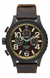 Men's Nixon 'The 48 20' Chronograph Leather Strap Watch 48Mm Black Brown