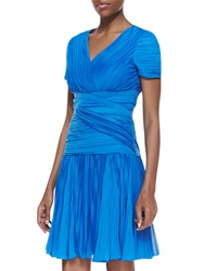 Halston Heritage Short Sleeve Pleated A Line Dress Aquamarine