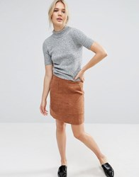 Neon Rose Faux Suede Skirt With Pocket Tan