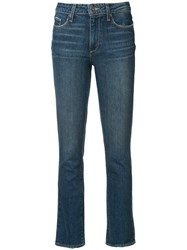 Paige Stonewashed Cropped Jeans Blue
