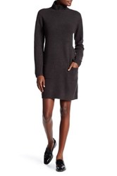Max Studio Turtleneck Long Sleeve Patch Pocket Sweater Dress Brown