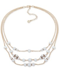 Anne Klein Gold Tone Pave And Bead Triple Row Collar Necklace 16 3 Extender Gold White
