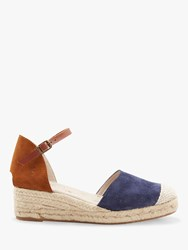 Joules Espa Wedge Heel Sandals Navy Tan Leather