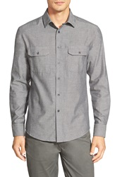 Vince Camuto Slim Fit Herringbone Sport Shirt Charcoal Herringbone