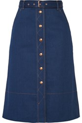 Rag And Bone Branson Belted Denim Skirt Mid Denim