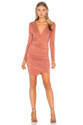 Krisa Asymmetrical Surplice Mini Dress Peach