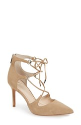 Marc Fisher Women's Ltd 'Toni' Lace Up Pointy Toe Pump Tan Suede