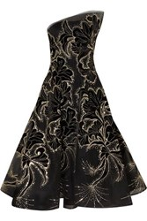 Monique Lhuillier Sequin Embellished Embroidered Velvet And Tulle Gown Black