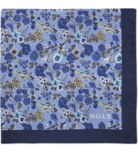 Eton Floral Print Silk Pocket Square Blue