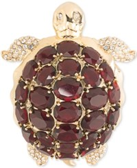 Carolee Gold Tone Burgundy Stone Turtle Pin