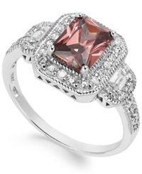 B. Brilliant Sterling Silver Pink 1 1 2 Ct. T.W. And White 1 4 Ct. T.W. Cubic Zirconia Rectangle Ring