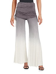 Young Fabulous And Broke Sierra Ruched Wide Leg Pants Charcoal Optic White