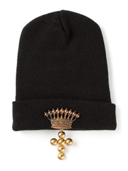 Andrea Crews Crown And Cross Embellished Beanie Hat Black