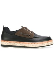 Salvatore Ferragamo Raffia Sole Boat Shoes Black