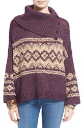 Women's Free People Fair Isle Split Neck Sweater Merlot Peach