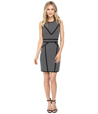 Catherine Malandrino Sleeveless Milano Sheath Blackbird White Star Women's Dress Gray
