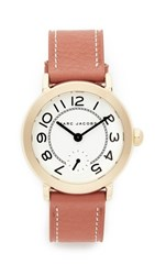 Marc Jacobs Riley Leather Watch Gold White Tan