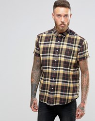 Asos Bleach Wash Checked Shirt In Regular Fit Brown