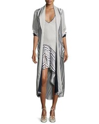 Jonathan Simkhai Multimedia Linear Printed Long Cardigan Blue Pattern