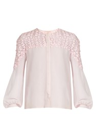 Giambattista Valli Collarless Silk Georgette Blouse Light Pink