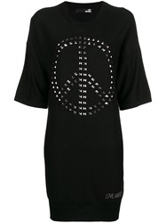 Love Moschino Knitted Embellished Sweater Dress Black