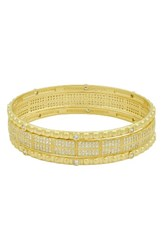Freida Rothman Women's Amazonian Allure Set Of 3 Pave Bangles Gold