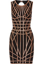 Herve Leger Romee Metallic Trimmed Stretch Jacquard Knit Dress Black