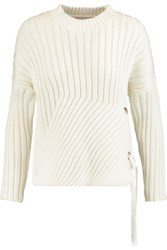 Derek Lam 10 Crosby By Lace Up Ribbed Cotton Blend Sweater White