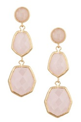 Rivka Friedman 18K Gold Clad Triple Dangle Deco Shape Rose Quartz Post Earrings Pink