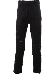 Ann Demeulemeester Distressed Cropped Slim Fit Jeans Black